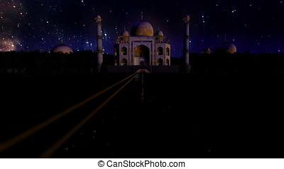 Taj Mahal at night, starry sky timelapse, seamless loop