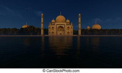 Taj Mahal at night time, beautiful water reflection, 4K