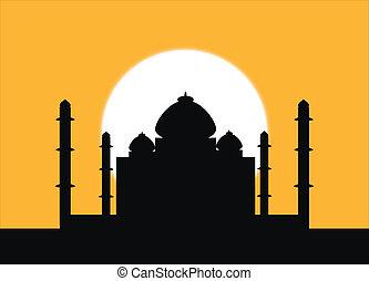 Taj Mahal at sunset - The silhouette Taj Mahal on an sunset ...
