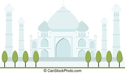 Taj Mahal bright clear day india agra palace travel architecture temple vector illustration