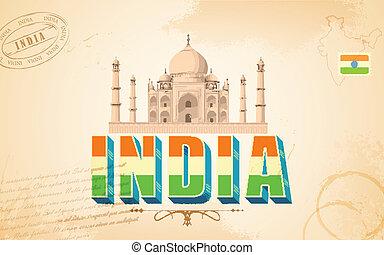 taj mahal, em, índia, fundo