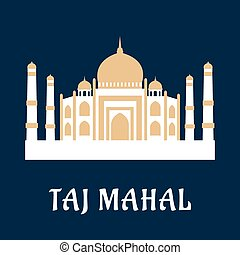 Taj Mahal famous Indian landmark with white marble...