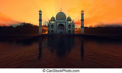 Taj Mahal front view against beautiful sun at dawn, 4K