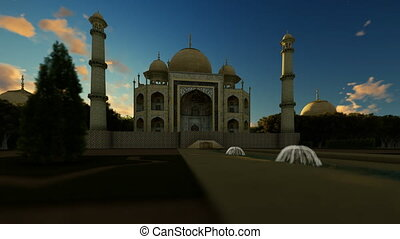 Taj Mahal front view, camera panning left to right, 4K