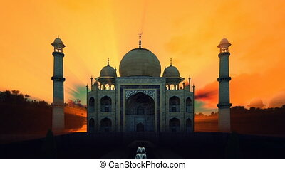 Taj Mahal front view with beautiful water fountains