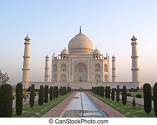 Taj Mahal front view with the water cannal - Agra - India.