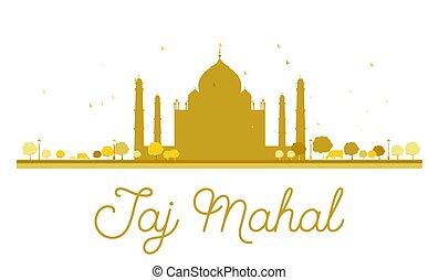 Taj Mahal golden silhouette.