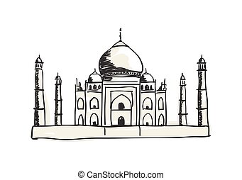 Taj Mahal hand drawn icon