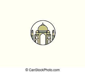 Taj Mahal Hand Drawn, India Agra - Line art vector...