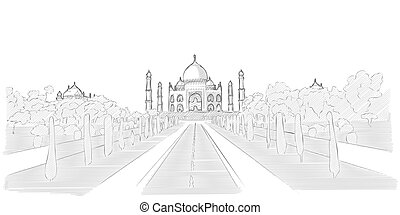 Taj Mahal hand drawn sketch