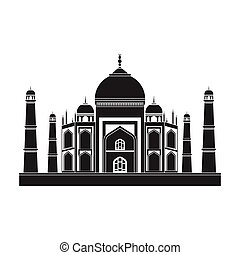 Taj Mahal icon in black style isolated on white background....