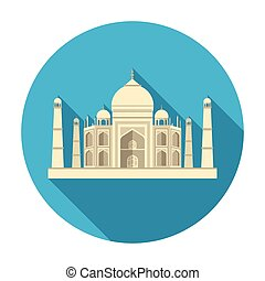 Taj Mahal icon in flat style isolated on white background. India symbol stock vector illustration.