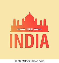 taj mahal icon - india design with silhouette of taj mahal...