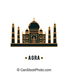 Taj Mahal illustration in line art style. Vector icon of...