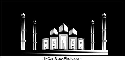 Taj Mahal illustration on black background