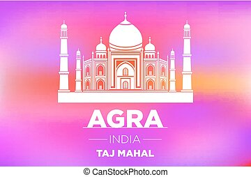 Taj Mahal in ight on pink sunrise vector art