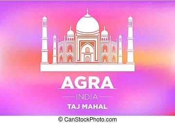 Taj Mahal in ight on pink sunrise vector art