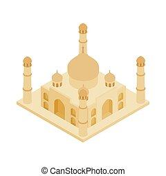 Taj Mahal in India icon, isometric 3d style