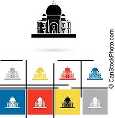 Taj Mahal in India icon vector