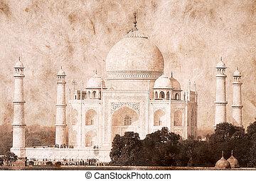 Taj Mahal, India. Artwork in retro style.