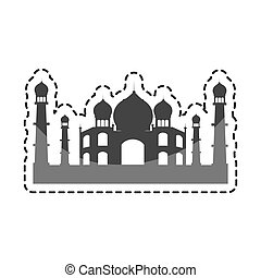 taj mahal india building vector illustration design