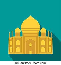 Taj Mahal, India icon, flat style - Taj Mahal, India icon in...