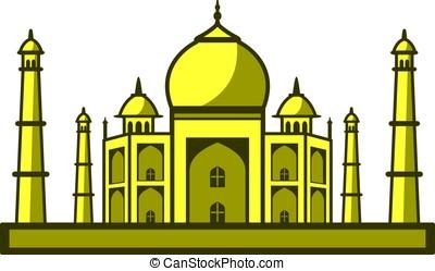 Taj Mahal, India, landmark flat icon design