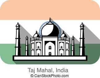 Taj Mahal, India, landmark flat icon design