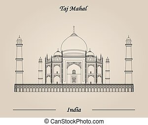 Taj Mahal, India vector illustration, World Attractions
