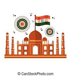 taj mahal indian mosque with flag