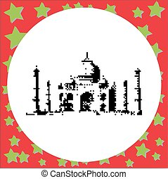 Taj Mahal is an ivory white marble mausoleum on the south bank of the Yamuna river in the Indian city of Agra Uttar Pradesh black 8-bit  vector illustration isolated on round white background with stars