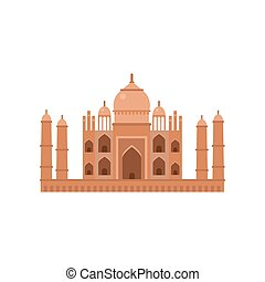 Taj Mahal mausoleum in Agra, famous monument of India vector Illustration