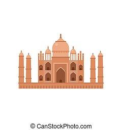 Taj Mahal mausoleum in Agra, famous monument of India vector...