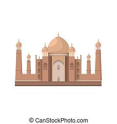 Taj Mahal mausoleum in Agra, India. Isolated on white. Vector