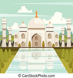 Taj Mahal Mausoleum In India Orthogonal Composition