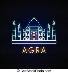 Taj Mahal neon sign. Bright vector illustration of Indian...