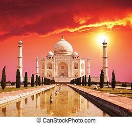 taj mahal, palacio, en, india