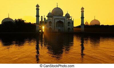 Taj Mahal reflected in water against beautiful sun