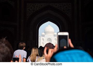 Taj Mahal scenic gate view in Agra, India.