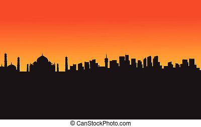 Taj mahal silhouette design, vector illustration