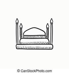 Taj Mahal sketch icon.