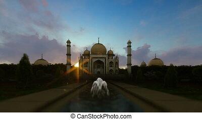 Taj Mahal sketch to painting against beautiful sunrise,...