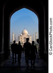 Taj Mahal South Entrance - A silhouette of the entrance of...