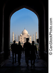 Taj Mahal South Entrance - A silhouette of the entrance of...
