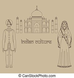 Taj Mahal Temple Landmark in Agra, India. Indian white marble mausoleum, indian architecture and South Asia beautiful woman and man wearing indian traditional cloth, hinduism costume
