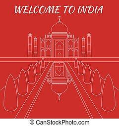 Taj Mahal Temple Landmark in Agra, India. Indian white...