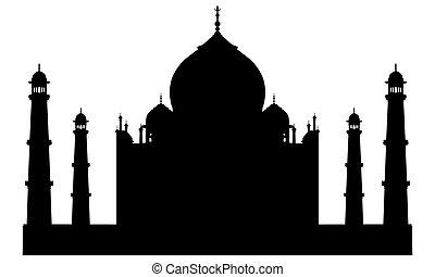 taj mahal, temple, silhouette