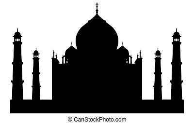 Taj mahal temple silhouette. Vector illustration for design...