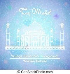 Taj Mahal Temple Watercolor Background - Taj Mahal Temple in...