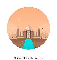 taj mahal, templo, colorful., ocaso, en, indio, agra, city., vector